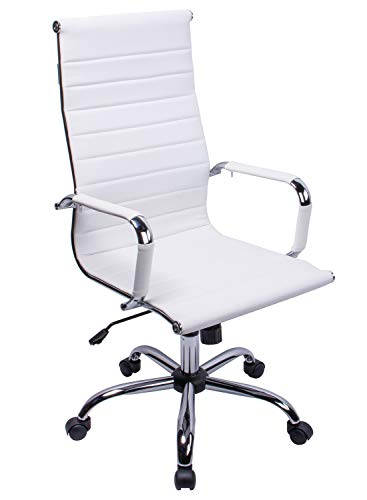 Exofcer Silla de Oficina de Piel sintética con Respaldo Alto Curvado, Altura Ajustable (Blanco)