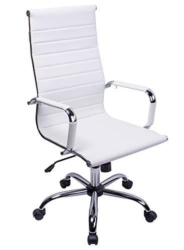Exofcer Silla de oficina de piel sintética con respaldo alto curvado, altura ajustable, color blanco