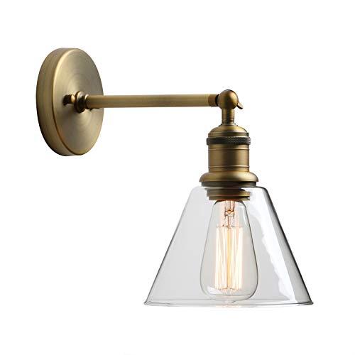 Yosoan Trichter-Klar Glas Wandleuchten Vintage Industrie Loft-Wandlampen Antik Deko Design Wandbeleuchtung Badezimmerleuchte, Badezimmerlampe, Innenleuchte,spritzwassergeschützt (antike Farbe)