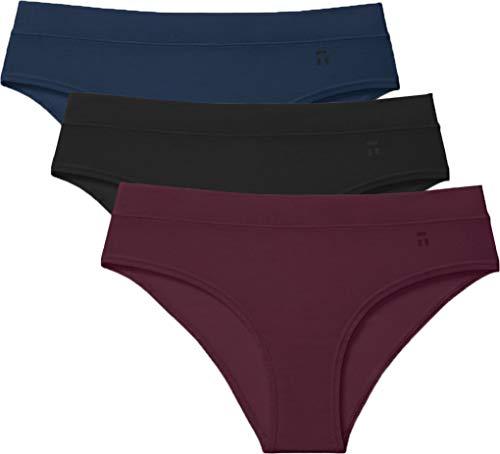 Tommy John Women's Second Skin Cheeky Panties - 3 Pack - Comfortable Bikini Brief Underwear for Women (Black/Dress Blues/Winetasting, Medium)