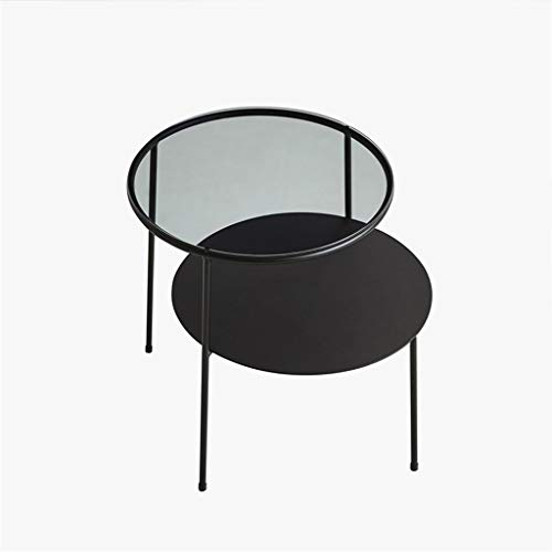 SZQ-Bouts de canapé Verre imperméable à l'eau Table basse, Maison Double Noir Canapé Table Salon Salon Balcon Loisirs table à thé Guéridons (Color : Black, Size : 50 * 60 * 70CM)
