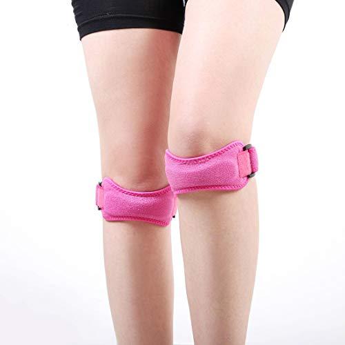 MYHH 2 PCS SMD-0114 Outdoor-Sport-Kniegelenk Schutzgürtel Anti-Verstauchung Patella-Band (schwarz). (Color : Rose Red)