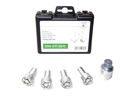 Skoda 000071597C - Juego de tornillos antirrobo para ruedas (M14 x 1,5 x 27)