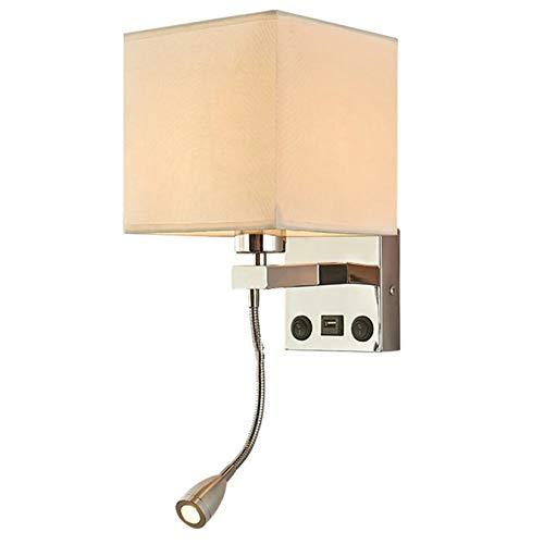 JCPGW Lámpara de Pared LED para Interiores Moderna, Aplique para Dormitorio, Aplique con Interruptor USB, cabecera Interior, hogar, Hotel, Luces de Pared