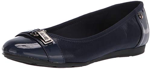 Anne Klein Women's Able Ballet Flat, Navy Multi Fabric, 10 W US