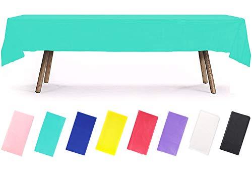 PartyWoo - Mantel Rectangular de plástico para Mesa de 6 a 8 pies, Mantel de plástico, Impermeable, para Fiestas, cumpleaños, Bodas (1 Paquete)