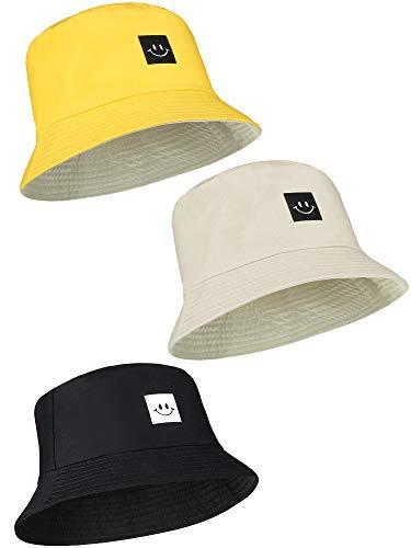 3 Piezas de Sombreros de Pescador Sonriente Sombrero de Sol de Playa Sombrero de Cubo Unisex para Verano al Aire Libre