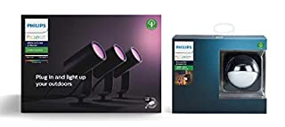 Philips Hue Lily White and Colour Ambiance LED 3x Spotlight Base Unit + Outdoor Motion Sensor Bundle. Works with Alexa, Google Assistant and Apple HomeKit (B07RGQFRK1) | Amazon price tracker / tracking, Amazon price history charts, Amazon price watches, Amazon price drop alerts