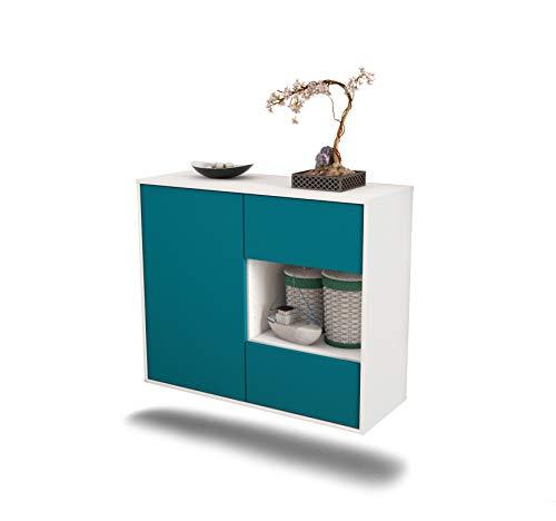 Dekati dressoir Brownsville hangend (92 x 77 x 35 cm) romp wit mat   front kleurdesign   Push-to-Open modern turquoise