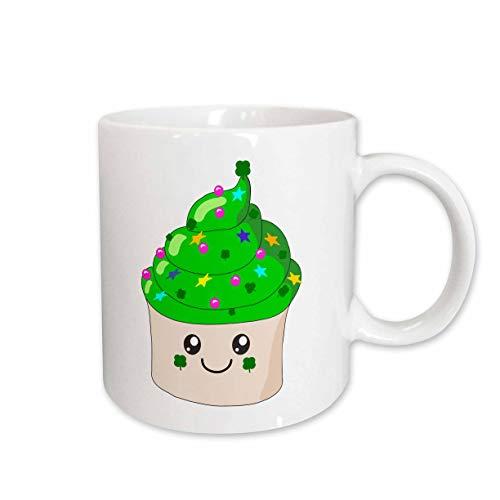 3Drose Green St.Patricks Day Cupcake, Kawaii Cupcakes für irischen Urlaub, Keramik, 312 ml