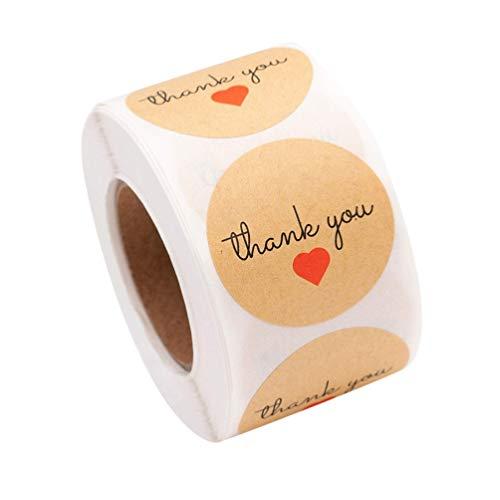 KESYOO 2 Rollos Día de San Valentín Gracias Pegatina Corazón Rojo sobre Sellado Pegatina Rollo de Etiquetas para Envolver Regalos Etiqueta para Aniversarios Boda Scrapbooking