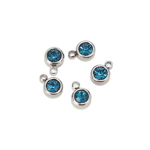 BOSAIYA PJ1 10 unids de Acero Inoxidable Dorado Piedra de Nacimiento Cristal encantos Accesorios para Collar Pulsera joyería Tl0527 (Metal Color : Steel Color 11)