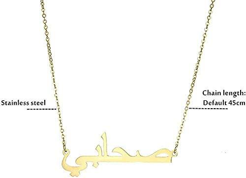 Collar para mujeres Hombres Collar islámico Collar dorado con nombre árabe Collar personalizado con nombre Collar hecho a mano de acero inoxidable Joyería árabe Regalo de dama de honor Longitud del co