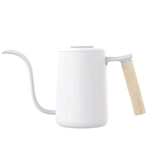 ZzheHou Schwanenhalskessel 304 Edelstahl Drip Art Haushalts- Langer Mund Topf Hand Made Kaffee Wasserkocher Kaffee Teekanne (Color : White, Size : 700ml)