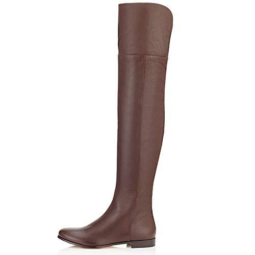 JSHS Braune Overknee-Stiefel mit seitlichem Reißverschluss, Lässige Lederreiterstiefel, Gummisohle, Verschleißfest und wasserdicht,EU41