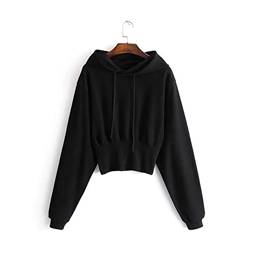 MIAOJIE Women's Solid Color Hoodies Autumn And Winter New Warm Hooded Sweatshirts Ladies Short Waist Bottoming Shirt Jacket Long Sleeve Jumper Top with Drawstring,black,M