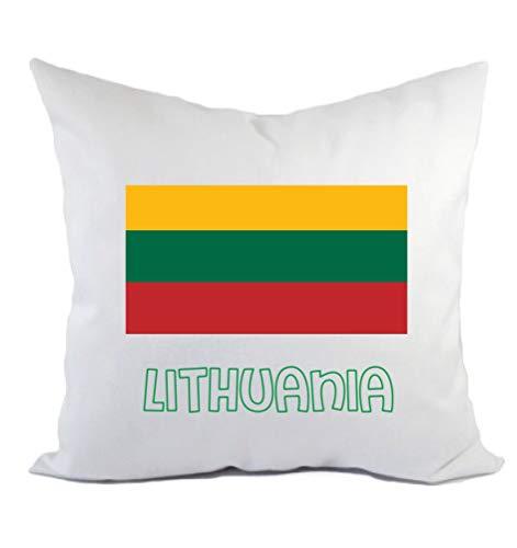Typolitografie Ghisleri kussen Litouwen, vlag en kussensloop en vulling 40 x 40 cm van polyester