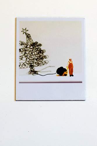 Cooler Magnet für Kühlschrank Magnettafel Halter für Notiz zum Verschenken | Mann Lagerarbeiter liefert Weihnachtsbaum aus Wolle