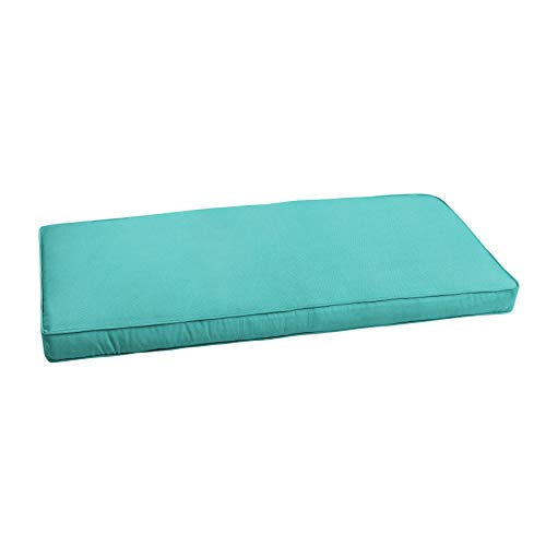 Mozaic AMZCS108550 Indoor or Outdoor Sunbrella Bench Cushion with Corded Edges and Tie Backs, 60 in W x 18 in D, Canvas Aruba