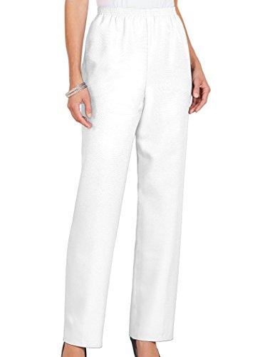 Alfred Dunner Classics Elastic Waist Pants White 14P S