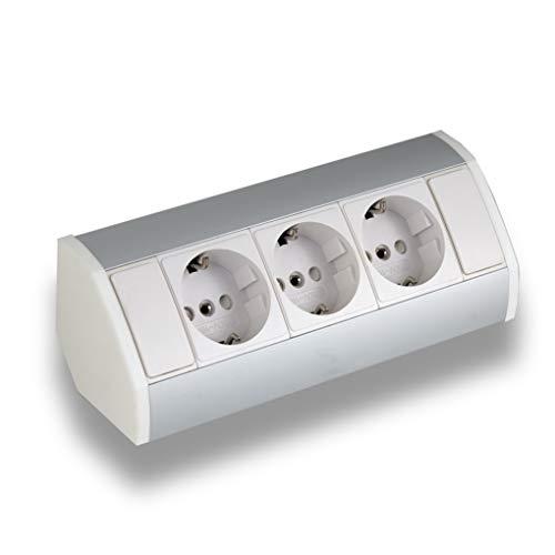 Praktische Eck-Steckdose 3x Schuko, weiß, silber, Aluminium, für Küche, Bad, Wohnzimmer, Möbel. Mehrfach-Steckdose ideal für Küchen-Arbeitsplatte als Aufbau-Unterbau-Steckdose (3x Schuko)