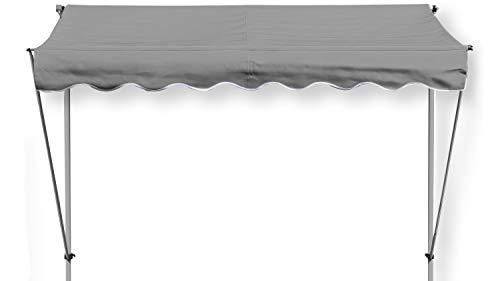 GRASEKAMP Qualität seit 1972 Klemmmarkise Ontario 255x130cm Grau Balkonmarkise höhenverstellbar von 200 cm – 320 cm