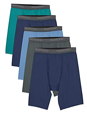 Fruit of the Loom Men's Micro-Stretch Long Leg Boxer Briefs, assorted, Large - Pack of 5