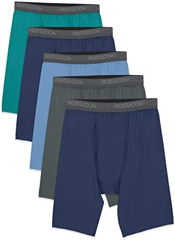 Fruit of the Loom Men s Micro Stretch Long Leg Boxer Briefs assorted Medium Pack of 5 product image