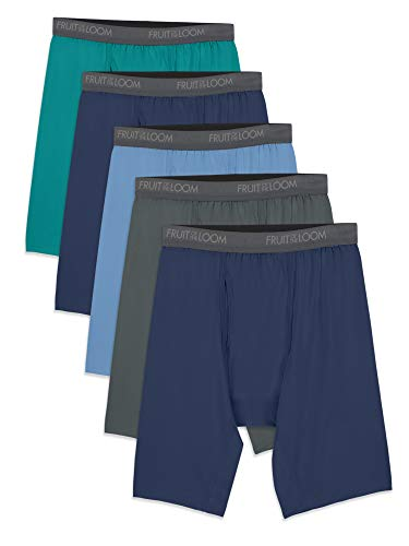 Fruit of the Loom Men's Micro-Stretch Long Leg Boxer Briefs, assorted, Small - Pack of 5