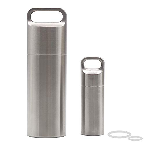 HRX Package Waterproof Stainless Steel Pill Case Keychain, Durable Small Pill Box Bottle Holder Tough for Men Purse Pocket Outdoor EDC Tool Kit
