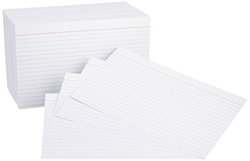 AmazonBasics 5 x 8-Inch Ruled Lined White Index Note Cards, 500-Count