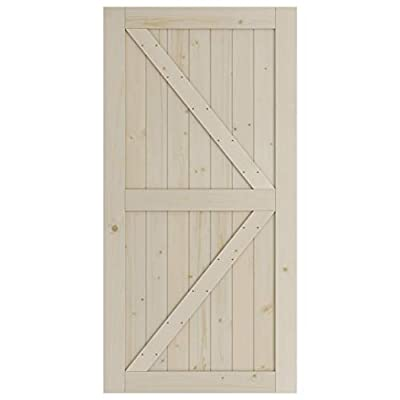 SmartStandard 42in x 84in Sliding Barn Wood Door Pre-Drilled Ready to Assemble, DIY Unfinished Solid Spruce Wood Panelled Slab, Interior Single Door, Natural, K-Frame (Fit 8FT Rail)