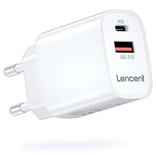 LENCENT Cargador Enchufe USB C [Certificado MFi-PD], 18W Cargador Rapido de Pared,Cargador Móvil Power Delivery 4.0 y USB QC 3.0 Carga Rápida para iPhone 12-8 Serie, iPad Pro, Galaxy, Huawei, Switch