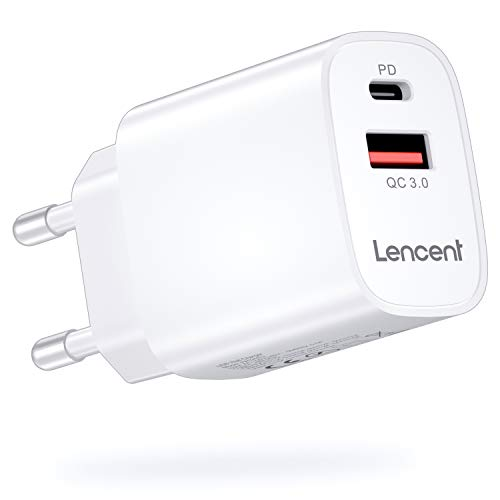 LENCENT Cargador Enchufe USB C [Certificado MFi-PD], 18W Cargador Rapido de Pared,Cargador Móvil Power Delivery 4.0 y USB QC 3.0 Carga Rápida para iPhone 12-8 Serie, iPad Pro, Galaxy, Huawei, Switch