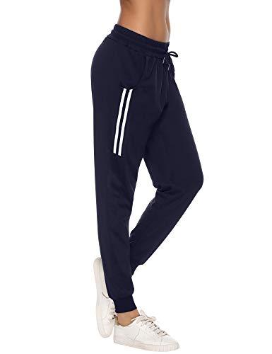 Aibrou Pantaloni Sportivi Donna in Cotone, Donna Pantaloni Sport con Tasche e Coulisse, Pantaloni Casual Donna per Jogging Yoga Pigiama Fitness Pilates