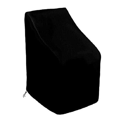 SEESEE.U Funda para Silla apilable de jardín Funda Impermeable para Silla de jardín Funda para Silla reclinable para Patio Protector para Muebles de Exterior (89 x 89 x 120 cm, Negro)