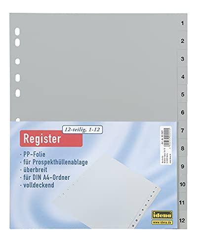 Idena 302029 - Register nummeriert 1-12, für DIN A4, mit Überbreite, aus Kunststoff, 12-teilig, DIN A4, grau, 1 Stück