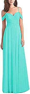 Botong Women's Chiffon Off The Shoulder Bridesmaid Dress Long Ruched Prom Evening Gown