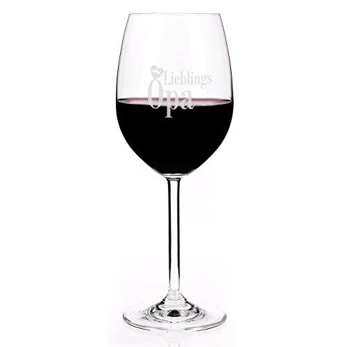 Leonardo Weinglas mit Gravur: Lieblingsopa mit Herz und Moustache Schnurrbart