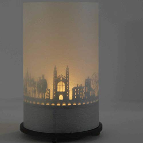 Cambridge-Skyline Windlicht Schattenspiel Premium Geschenk-Box Souvenir, inkl. Kerzenhalter, Kerze, Projektionsschirm & Teelicht