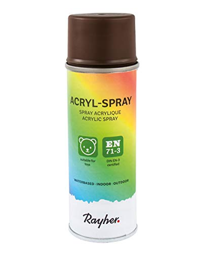 RAYHER HOBBY 34145552 Acryl-Spray, Acryllack, seidenmatt, Sprühlack für innen und außen, hohe Deckkraft, umweltbewusst spraylackieren, Dose 200 ml, dunkelbraun