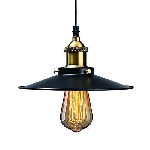 NODIFAN Vintage Retro Edison Loft Pendelleuchte, Retro Industrielle Deckenleuchte Lackiertem Eisen Regenschirm Lampenschirm 1X E27 Fassung (22CM)