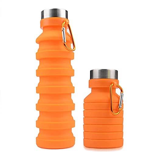 Botellas de agua plegables plegables de silicona, plegable, a prueba de fugas, viajes, senderismo, camping, bebidas (naranja)