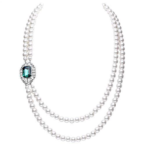 ArtiDeco 1920s Halskette Damen Gatsby Kostüm Accessoires Imitation Perlen Kette Retro Hochzeit Braut Halskette mit Kristall (Grün)