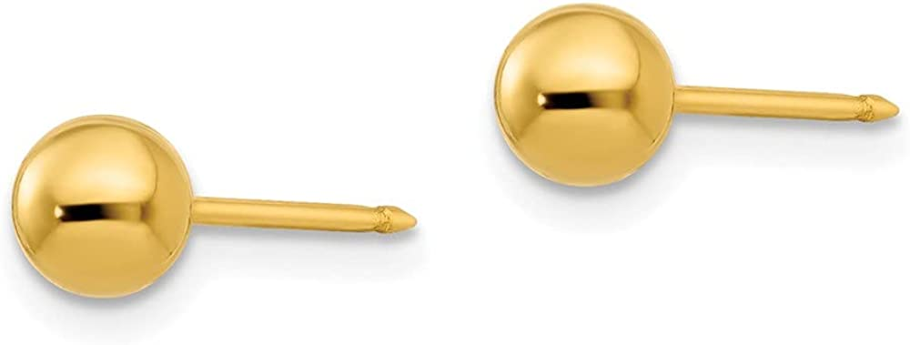 14k Yellow Gold 5mm Ball Post Stud Earrings Tool Ear Piercing Supply Button Fine Jewelry For Women Gifts For Her