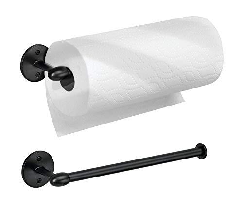 iDesign Orbinni Suporte de toalha de papel de metal montado na parede, organizador de rolo para cozinha, banheiro, sala de artesanato, conjunto de 2, preto fosco, 2 unidades