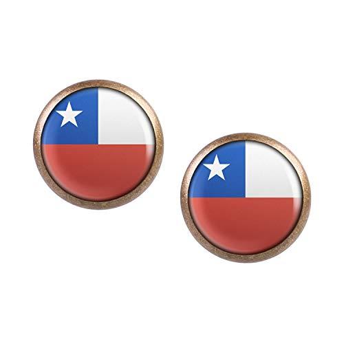 Mylery Ohrstecker Paar mit Motiv Chile Santiago de Chile Flagge bronze 12mm