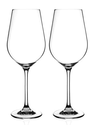 DIAMANTE Red Wine Glasses Pair - 'Auris' Collection Undecorated Crystal...