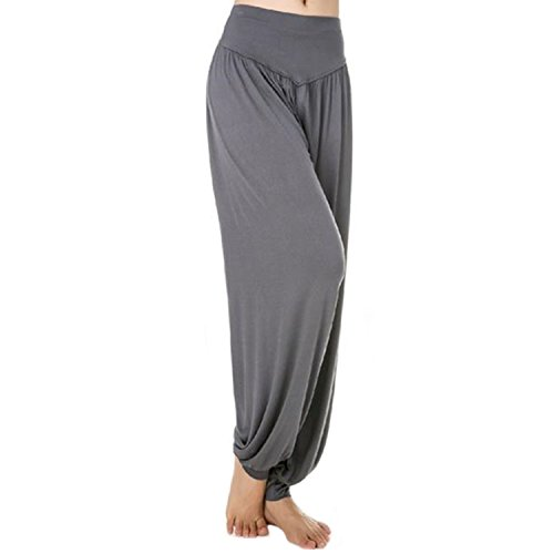 MEISHINE® Donna Modal Elastico Yoga Pantaloni Harem Pantaloni Fitness Pantaloni Pilates Pantaloni Danza Pantaloni Workout Pantaloni Sportivi Pantaloni Jogging Pantaloni (Size S, Grigio Scuro)