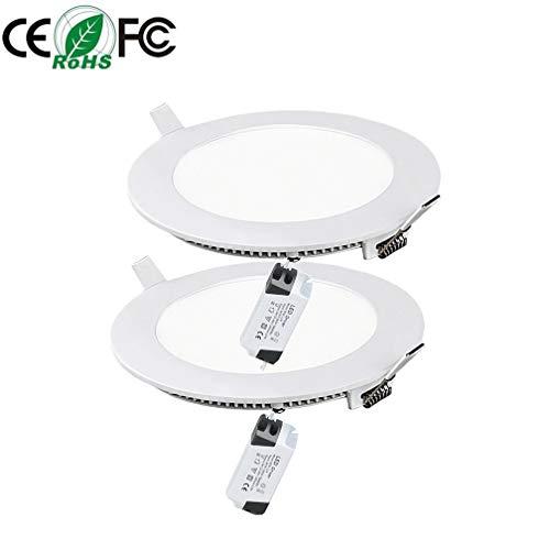 2 PCS 15W Luces de Techo Empotradas LED Redondas 1350LM Ultra Delgado 6000K Diámetro de Iluminación para Dormitorio Sala De Estar Oficina Pasillo